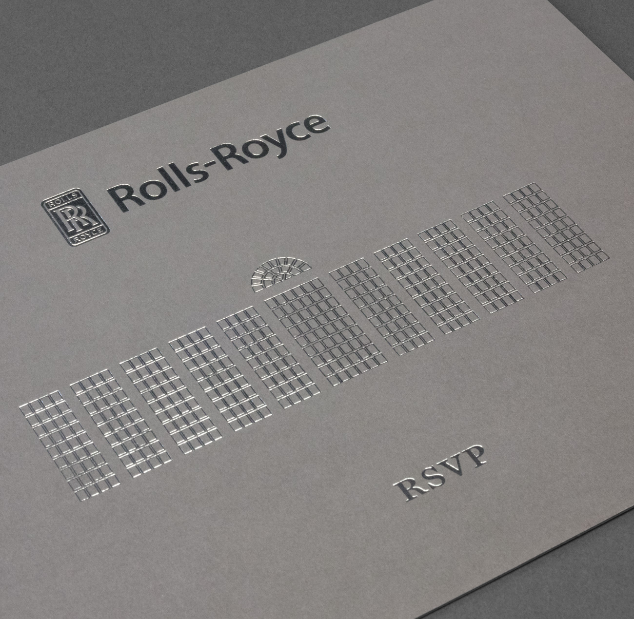 Silver foil print for Rolls Royce by FSG Design