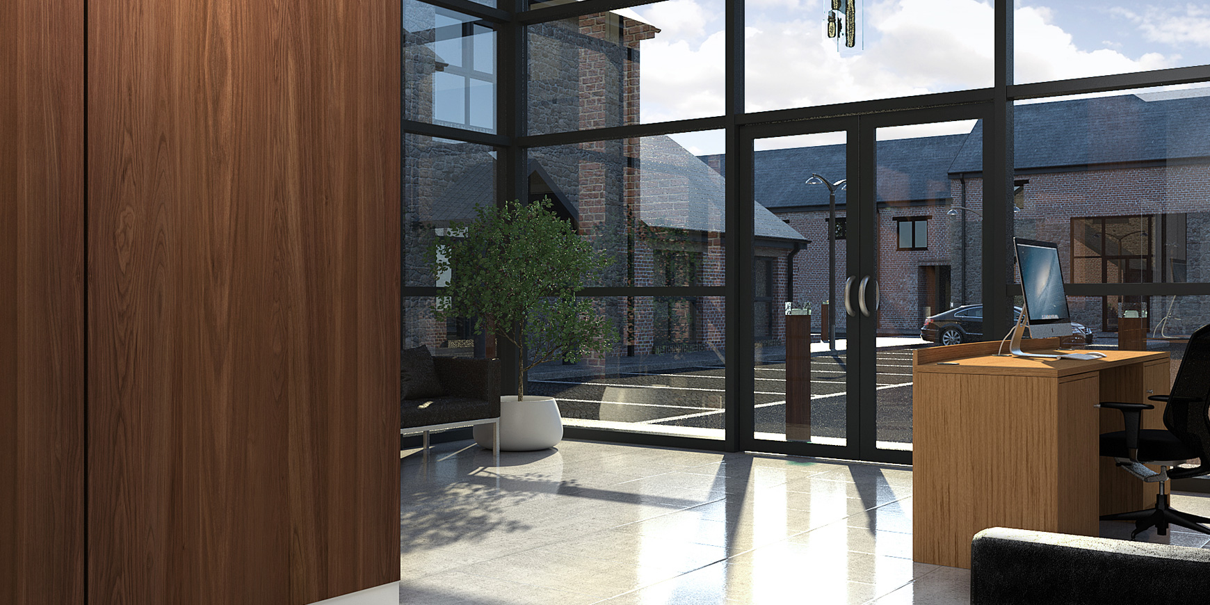3D architectural visualisation of Eckland Lodge offices