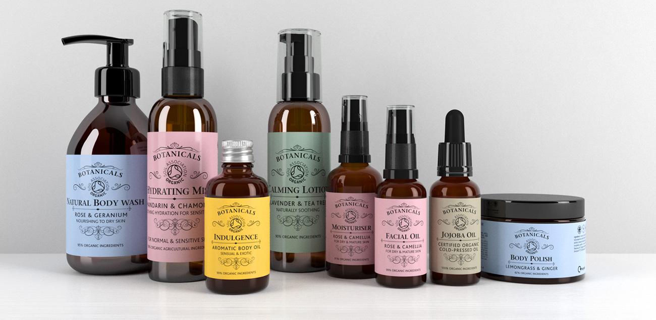 3D rendering packaging design for Botanicals organic skincare