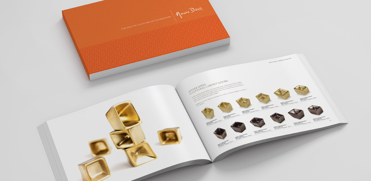 High end brochure design for Haute Deco doorknobs