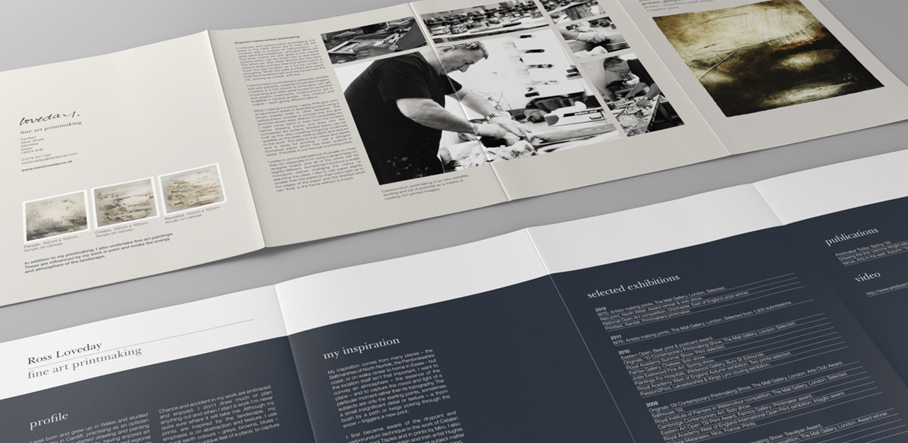 Broadsheet brochure design for Ross Loveday fine artist and printmaker