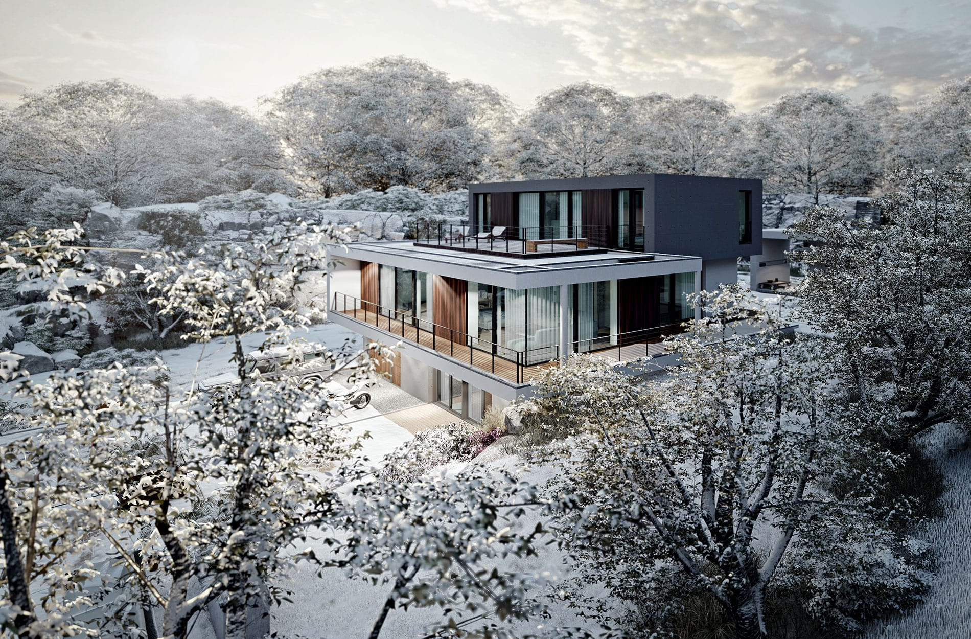 Lumion architectural 3D winter scene rendering by FSG Design