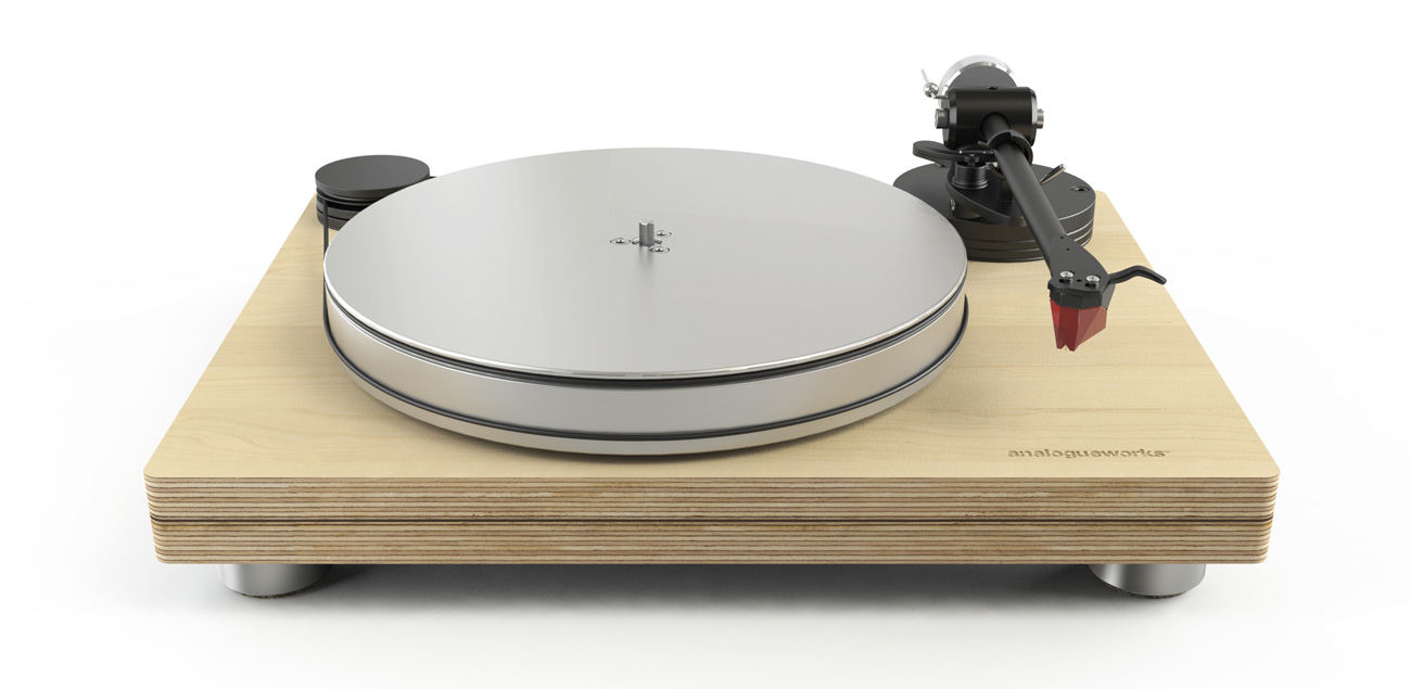 CGI rendering of a record turntable in natural wood