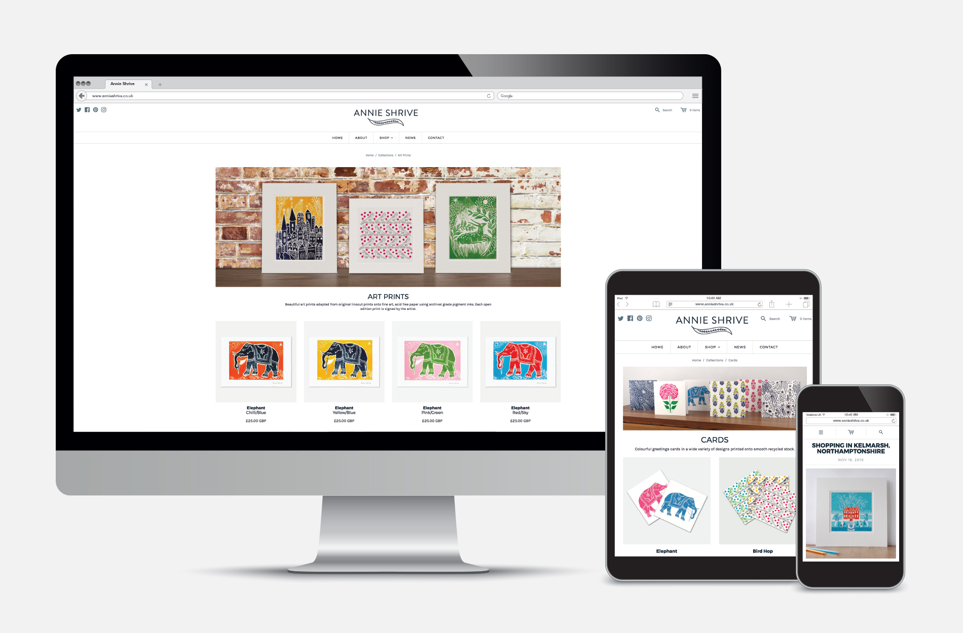 Shopify e-commerce website for Annie Shrive printmaker