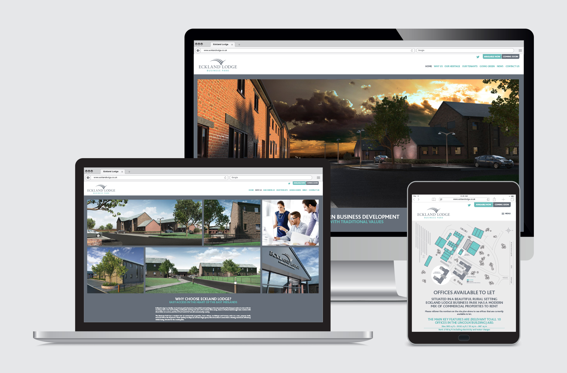 Joomla content managed website for Eckland Lodge Business Park