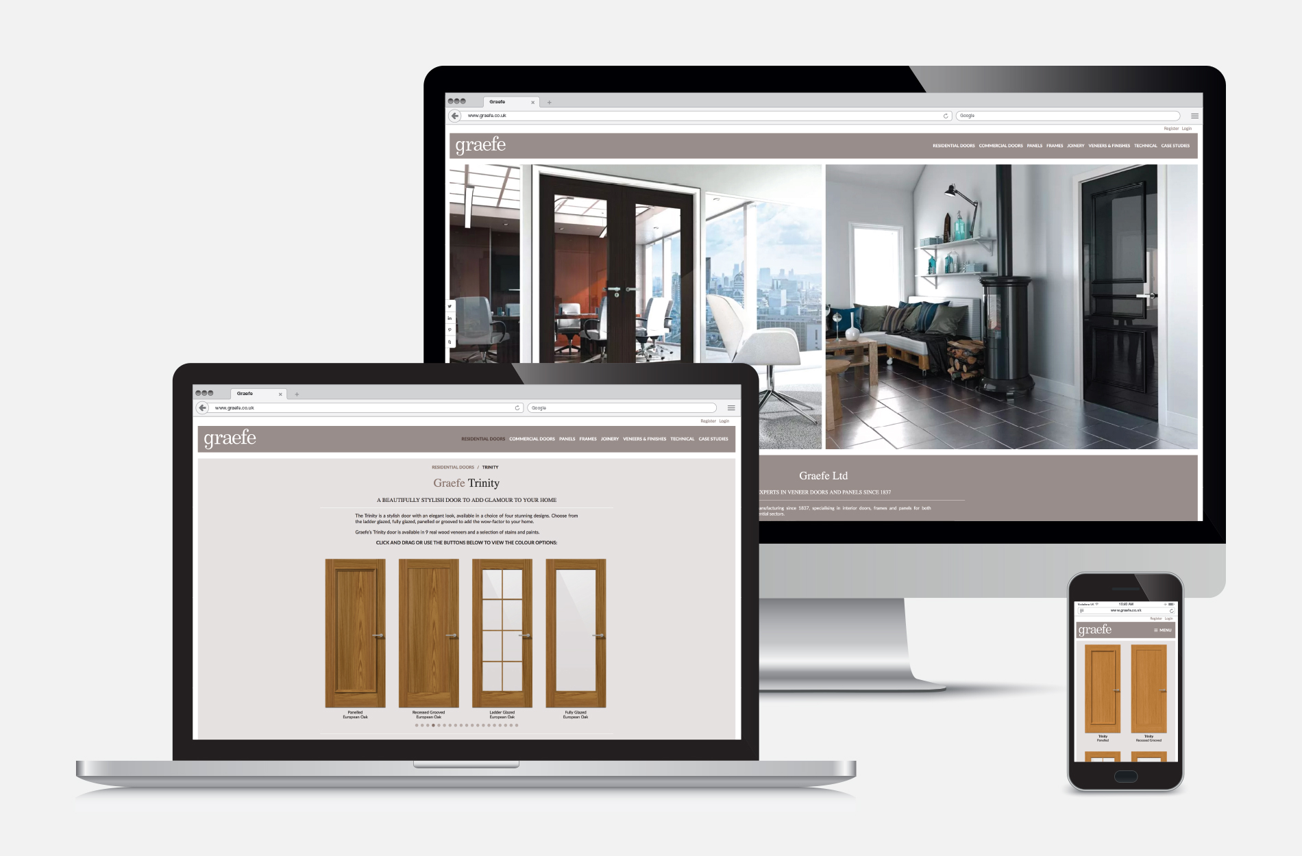 CMS content managed website design for Graefe Veneer Doors