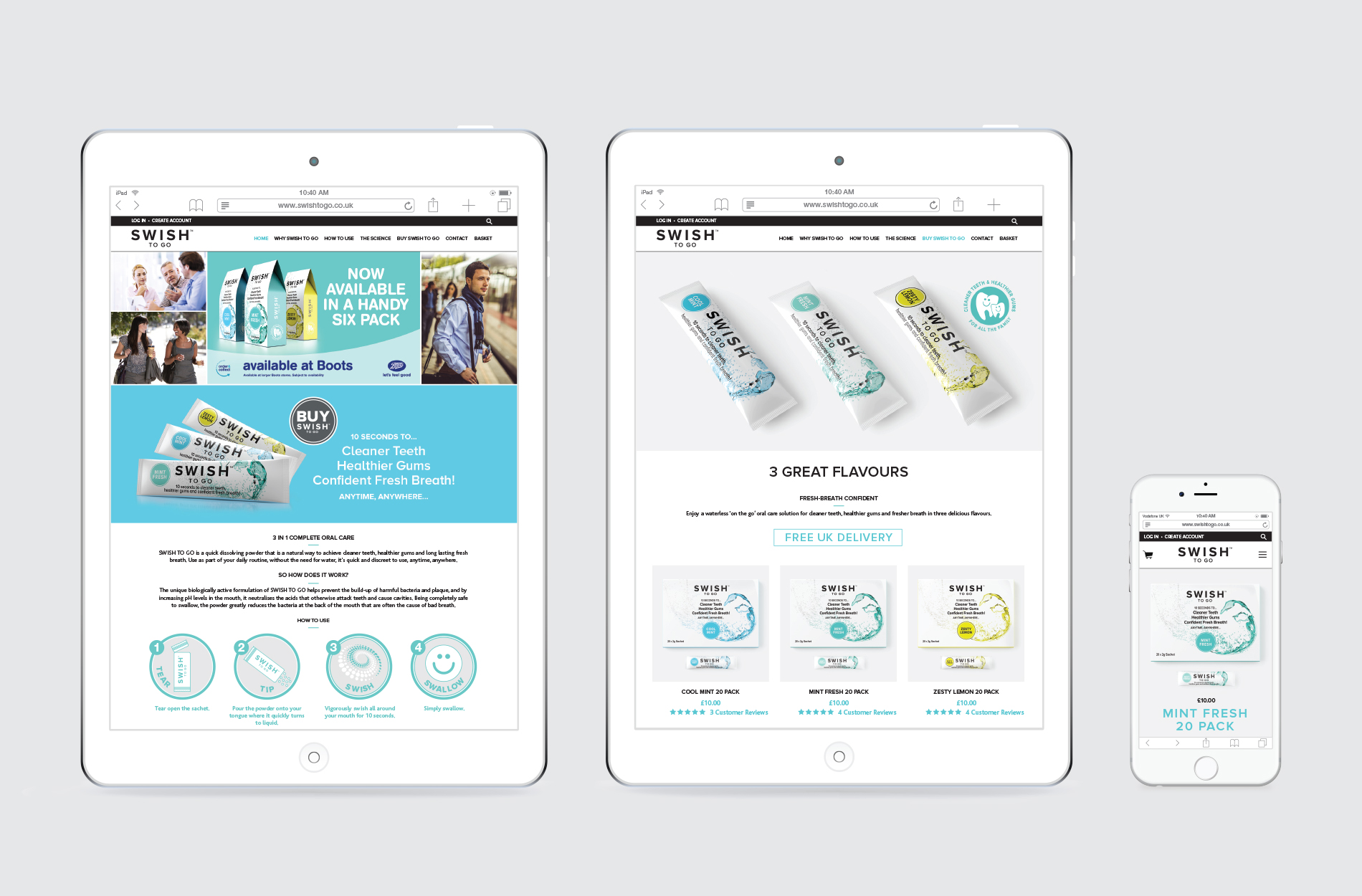 E-commerce Shopify website for Swish To Go oral healthcare